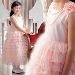 段フリルスカートドレス ピーチピンク