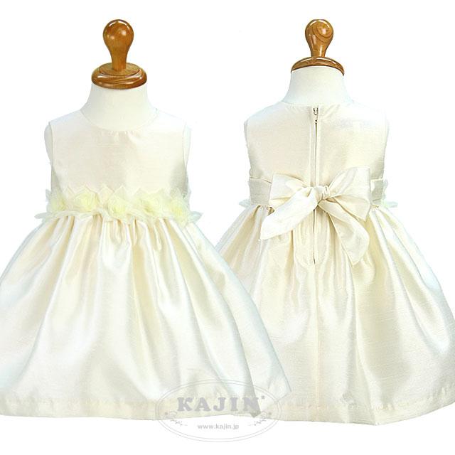 クラシックオーガンジーローズベビードレス「アイボリー」