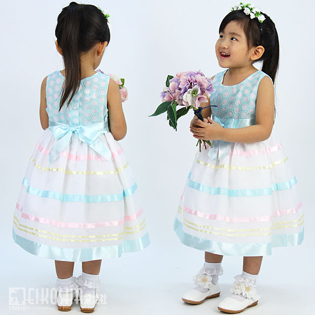 ベビードレス サークルドット マルチカラーリボンテープドレス