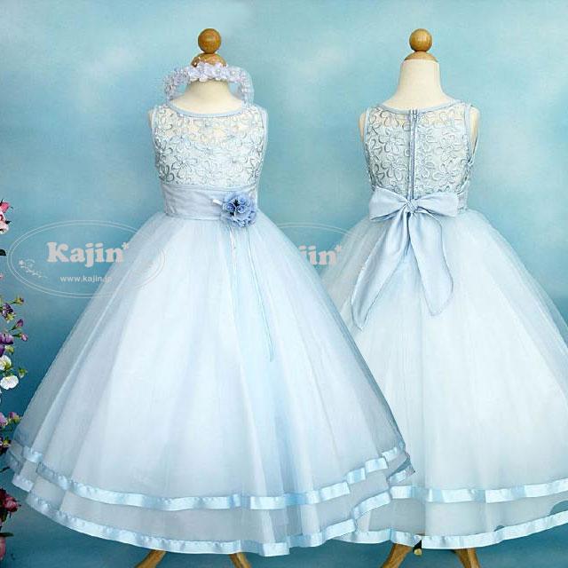 パールがキラキラシルエットが美しい高級プリンセスドレス「ブルー」【雑誌掲載商品】