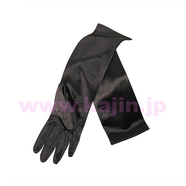 子供用フォーマルサテンロング手袋「ブラック」 ゆうパケット発送OK(5点まで)