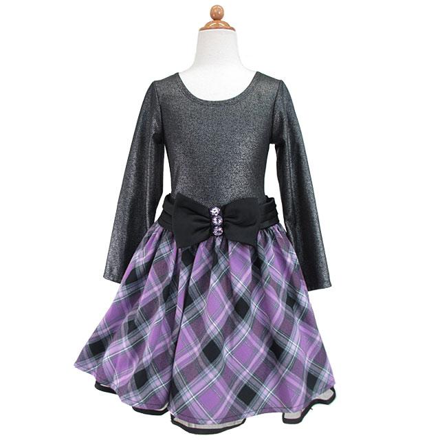 ジュニアワンピース ウェストリボンがキュートなチェック柄スカートのレイヤード風ワンピース