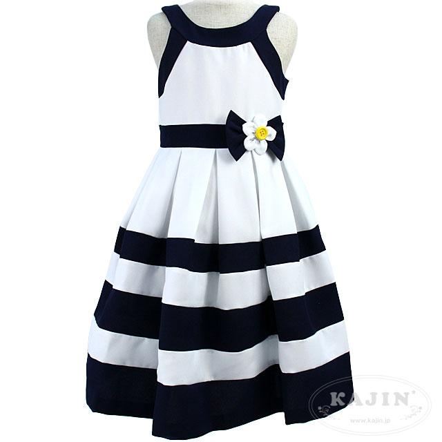 マリンカラーで夏を先取り♪ネイビーとホワイトのボーダー ノースリーブジュニアドレス