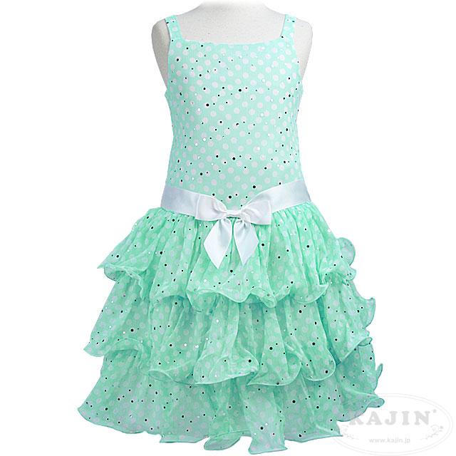 キラキラスパンコールの3段フリルスカートドット柄ノースリーブドレス「ミントグリーン」