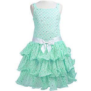 フリルスカートドット柄ノースリーブドレス「ミントグリーン」