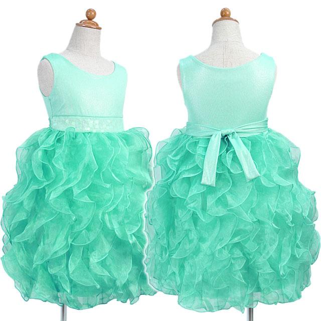 ふわふわオーガンジーのノースリーブドレス「ペパーミント」