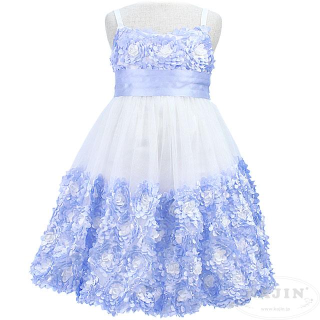 フラワーモチーフのノースリーブジュニアキャミドレス「ベビーブルー」