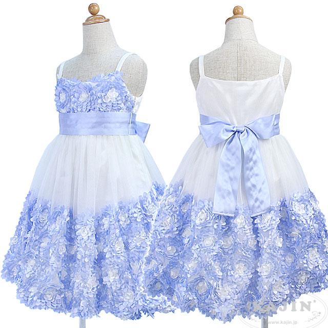 SALE フラワーモチーフのノースリーブジュニアキャミドレス「ベビーブルー」