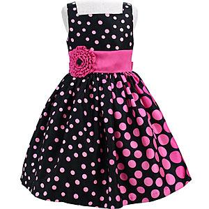 マルチドットと大輪コサージュのノースリーブドレス「ブラック&ピンク」