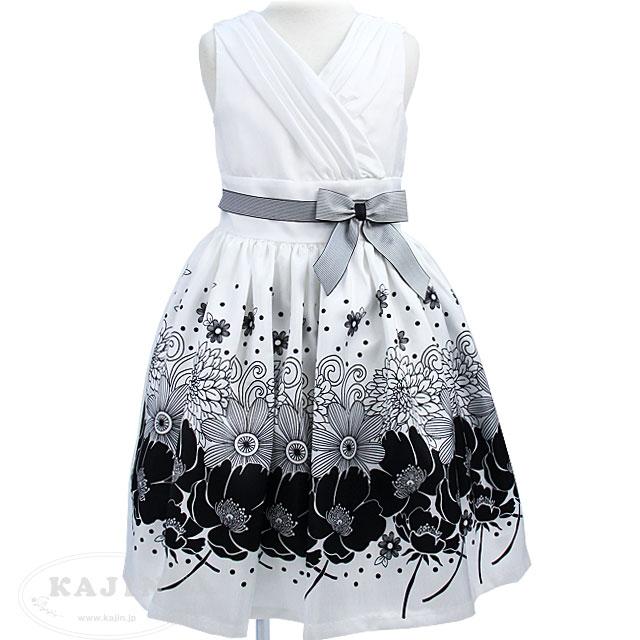フラワープリントのモノトーンノースリーブドレス