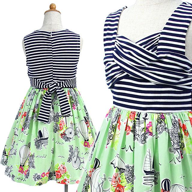ノースリーブボーダーとミントグリーンのプリントスカートドレス