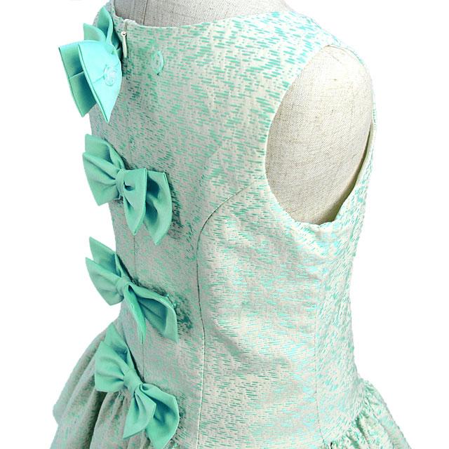 ジャガードの高級感あふれるノースリーブショートドレス「ミントグリーン」