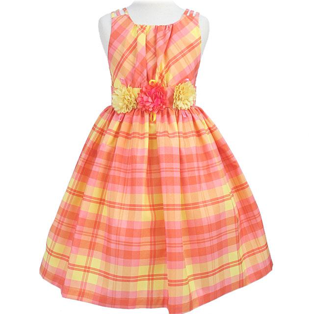 SALE チェック柄フラワーモチーフのノースリーブドレス「イエローピンク」