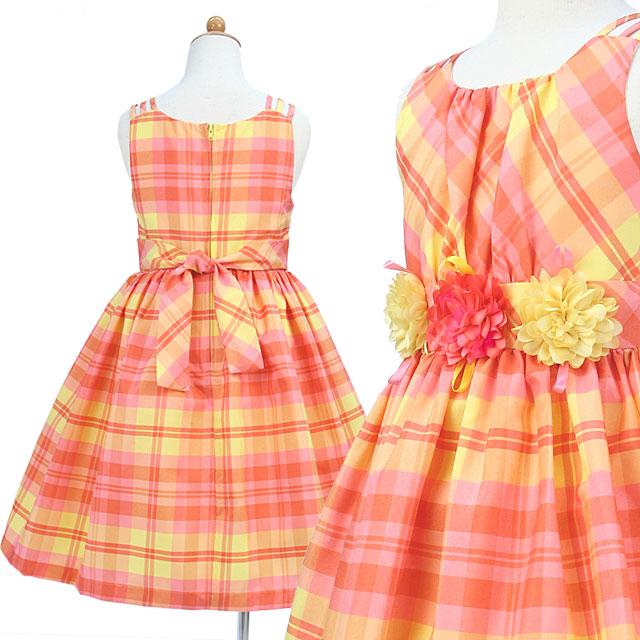 チェック柄フラワーモチーフのノースリーブドレス「イエローピンク」