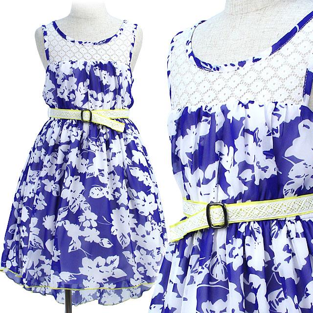 フラワープリントのスワローテイルノースリーブジュニアドレス「ロイヤルブルー」