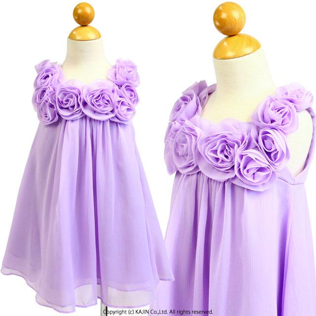 ローズモチーフシフォンショート丈ドレス