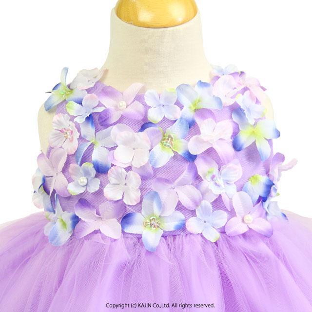 ベビードレス フラワーモチーフチュールスカートプリンセスベビードレス