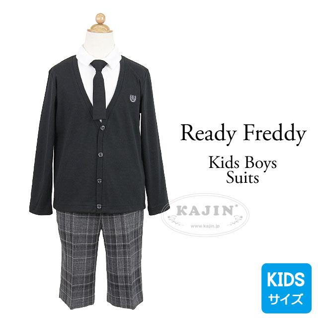 キッズ ネクタイ付き重ね着風カットソーとチェックパンツスーツセット【ReadyFreddy】