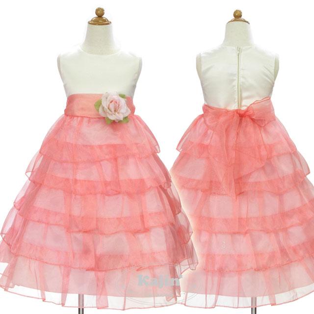 バラの花びらのように可憐な5段ティアードフリルドレス「ピンク」