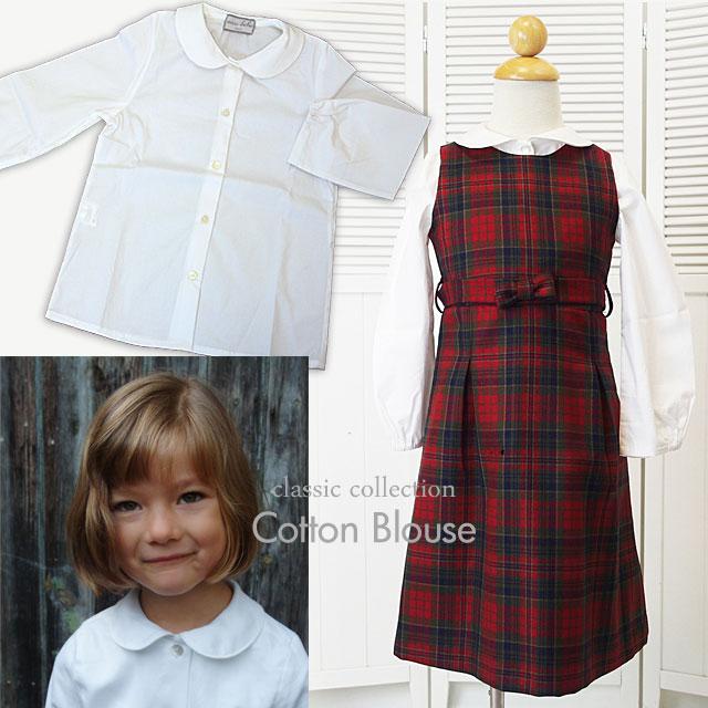ECCOBEBE 女児フォーマルシャツブラウス コットン100% イタリア製のシンプルな丸襟長袖シャツブラウス