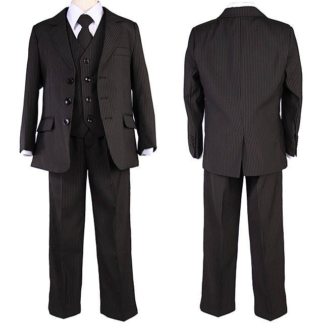 【在庫限り】男の子 キッズピンストライプスーツ5点セット「黒」【卒業式入学式】