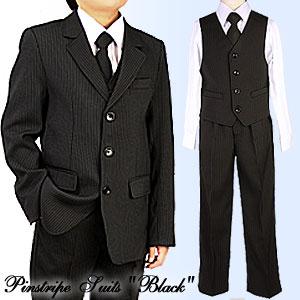 ピンストライプスーツ5点セット/黒