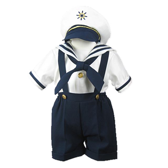 マリンルック スクール風 パンツタイプ 男の子セーラー服3点セット帽子付き「ネイビー」