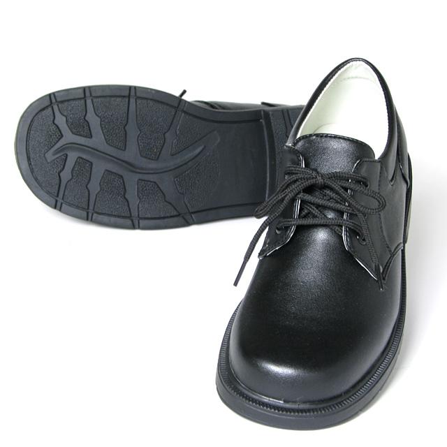 プレーントゥのシンプルなフォーマル子供紐靴「ブラック」