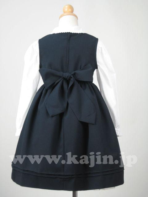 裾刺繍入り女児紺色ジャンバースカート【卒業式 入学式 七五三 結婚式】