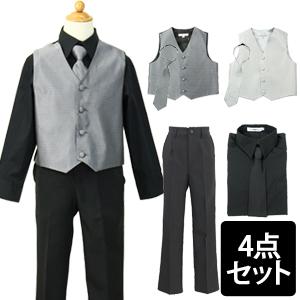 ブラックドレスシャツの柄ベストスーツセット