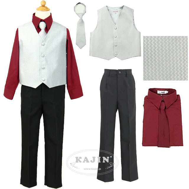 ジュニア 柄ベスト スーツ セット【ベスト/シャツ/スラックス】 バーガンディ色ネクタイのおまけつき