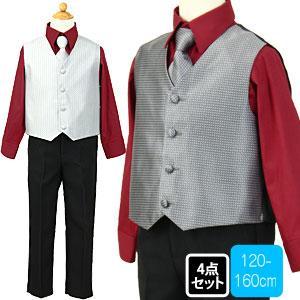 バーガンディドレスシャツの柄ベストスーツセット