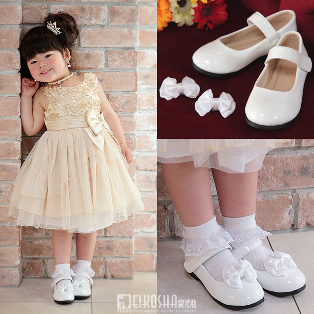 SALE 子供靴 シンプル ローヒール 白 2wayエナメルストラップフォーマルシューズ「ホワイト」 リボン取外し可