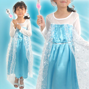 エルサ風/レース 長袖 ワンピース ドレス「ブルー」