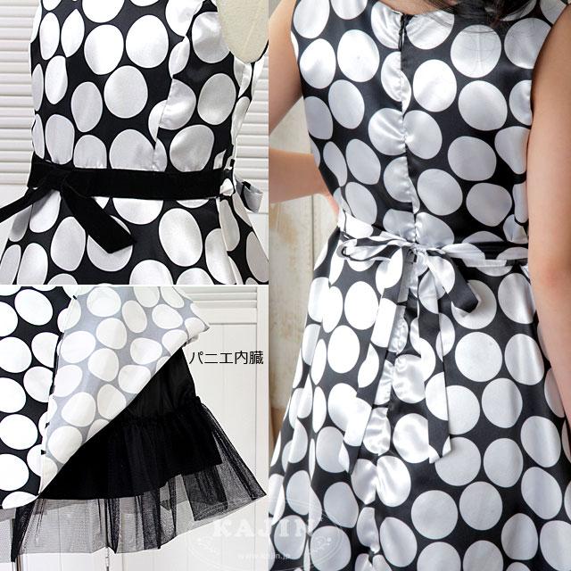 ジュニア 大ぶりシルバードットのノースリーブドレス