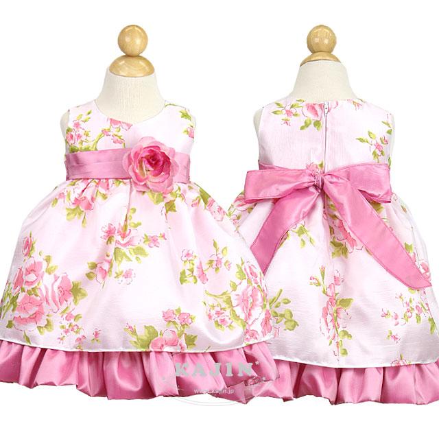 ベビー キュートなローズ柄 スウィートフラワーガールドレス「ピンク」