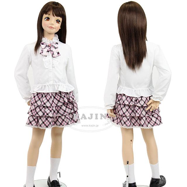 【在庫限り】キッズ チェック柄フリル スカート ガール スーツ セット「グレー」【BLING JEWEL】