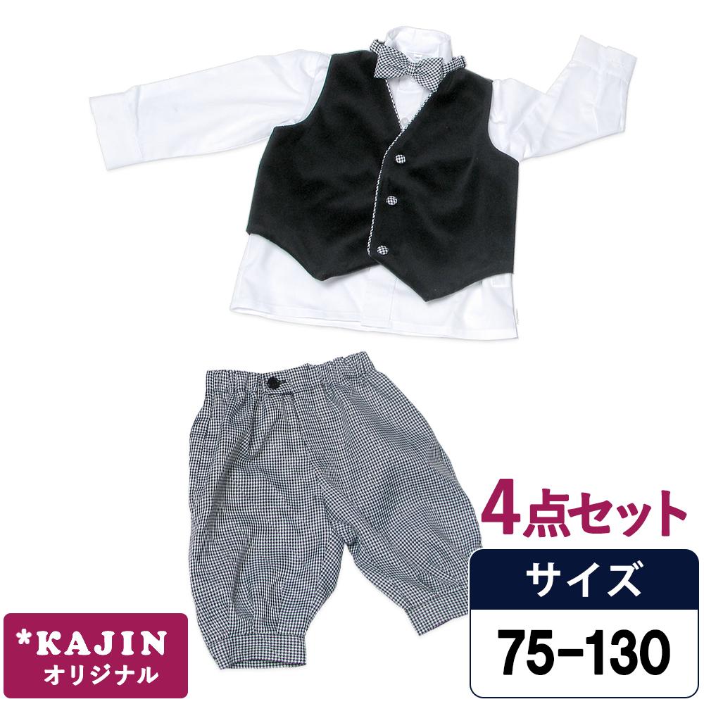 千鳥格子ニッカボッカ4点セット/黒