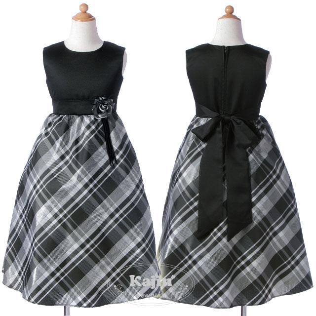 ブラックサテンとコサージュがエレガントなチェック柄ジュニアドレス