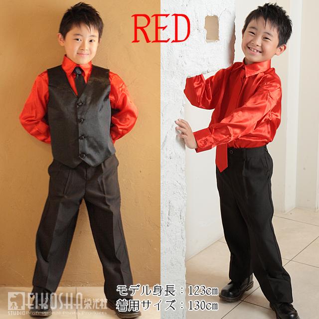 SALE ジュニア サテンシャツ&ベスト スーツ セット(ベスト/シャツ/スラックス) 黒ネクタイつき