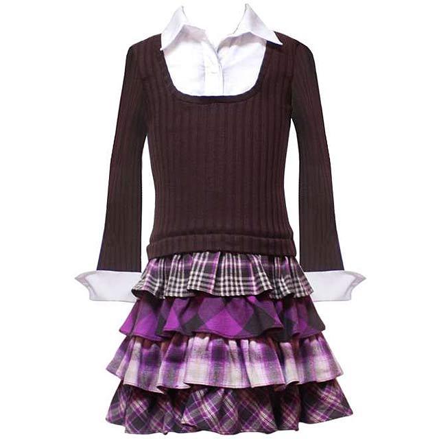 ニットレイヤード風チェック柄スカートのジュニアワンピース「ブラウン&パープル」 在庫限りアウトレット特価