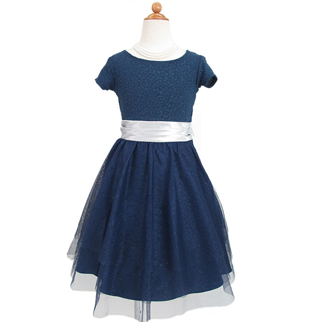 ジュニア ストレッチ素材ラメ入りチュールショートスリーブドレス 在庫限りアウトレット特価