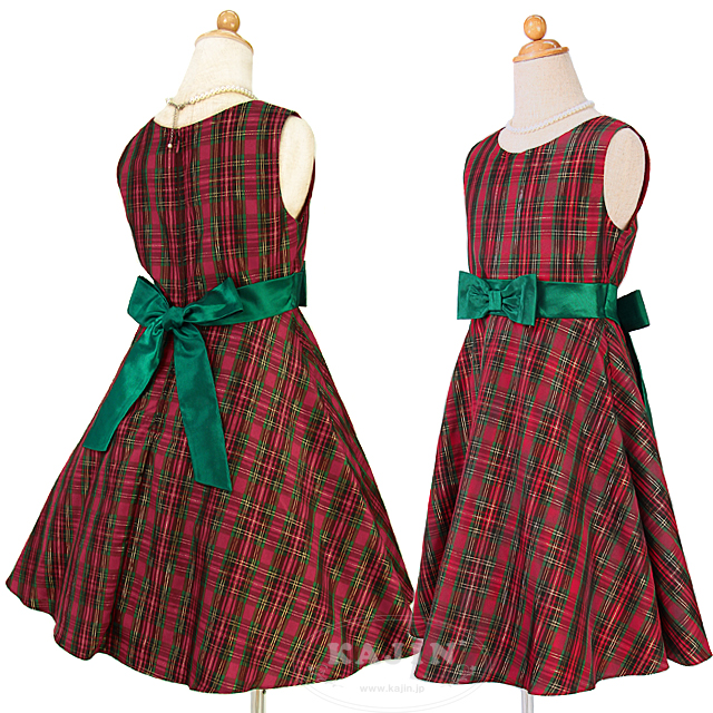 【数量限定】ベロアボレロ付きチェック柄クリスマスカラードレス「レッド&グリーン」