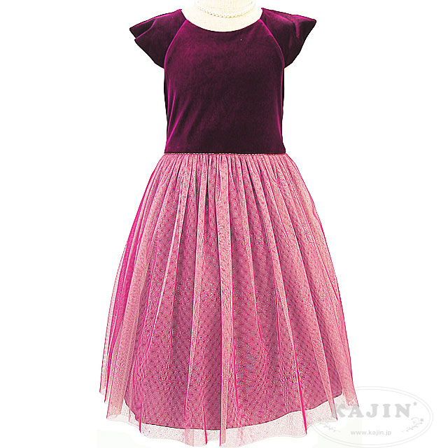 スーパーSALE (数量限定)キラキラ輝くチュールスカートの半袖ベロアドレス「プラム」