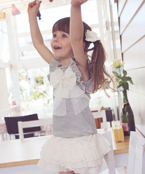 韓国服 ショコラシリーズ SS フリルT(リボンコサージュブローチセット 子供服 夏 カットソー タンクトップ 半袖Tシャツ キッズ ボーダー柄