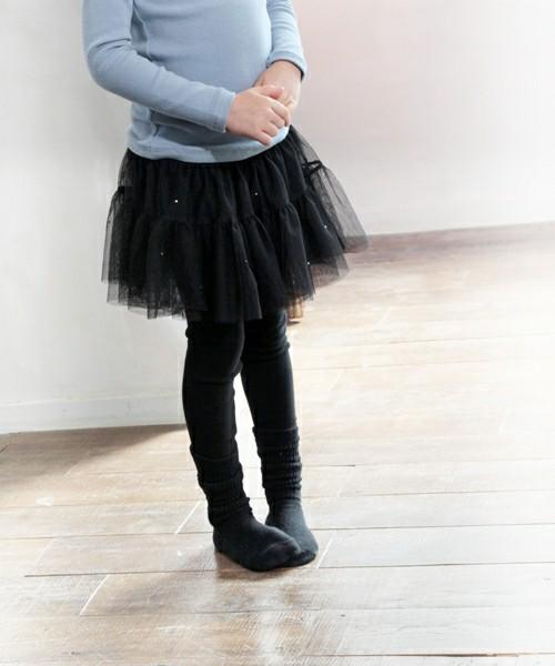チュールスカート付きレギンス「ブラック」黒 スカッツ ボリュームフレア ストーン【ショコラシリーズ 韓国服】
