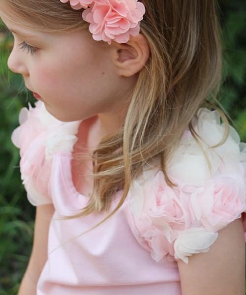 韓国服 ショコラシリーズ SS 半袖Tシャツ 子供服 女の子 夏服 トップス 女の子服 フェミニン ガーリー キッズ 服 ピンク コサージュ
