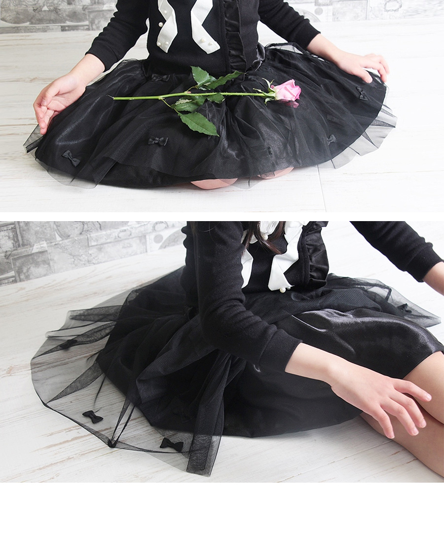 ショコラシリーズ 韓国服 リボンいっぱい ルワゼ チュールスカート フォーマル スカート キッズ 黒スカート 入園式 スカート 黒 入学式 子供 チュチュスカート リボンスカート 膝丈 女の子子供服 おしゃれ100 110 120 130cm