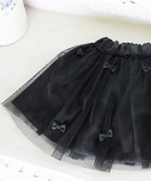 プチリボン付きチュールミニスカート「ブラック」ボリュームフレア【ショコラシリーズ 韓国服】