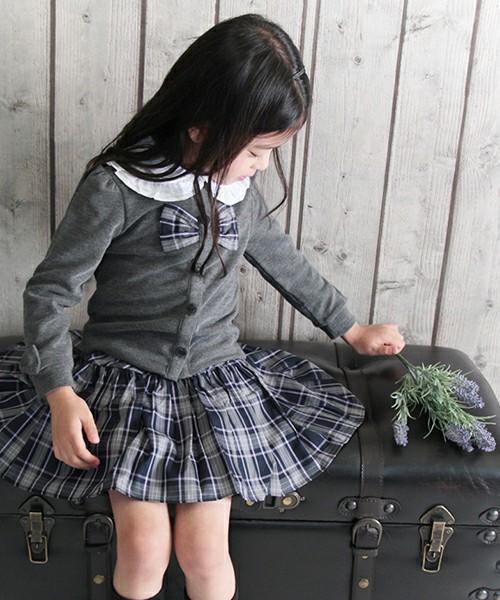 女の子タータンチェック柄リボンギャザーカーディガン 「グレー」【ショコラシリーズ 韓国服】